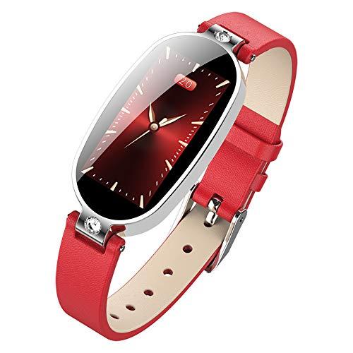 Lhlbgdz Smart-Band Frauen intelligente Uhr Medikamente Erinnerung Druck EKG PPG Pulse Health Armband-Farbbildschirm Fitness Tracker,Rot