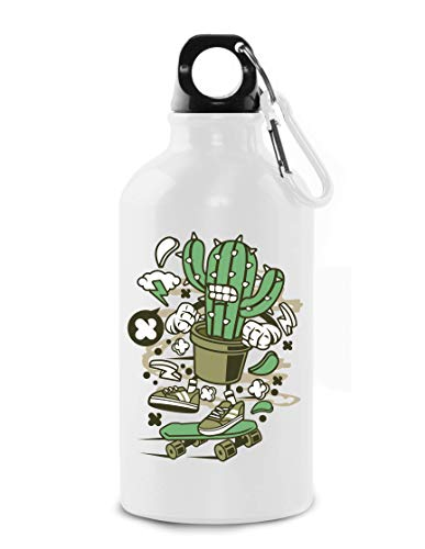 Cartoon Styled Cactus Skater Urban Plant Tourist Water Bottle