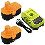 2 Packs P100 Battery and P117 Charger Compatible with Ryobi 18V Battery One Plus ABP1801 ABP1803 BPP1820 130224007 130224028 130255004 1322401 1323303 P102 P103 P104 P105 P107 P108