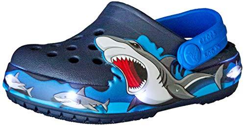 Crocs Fun Lab Shark Lights Clog, Obstruccin, Navy, 33/34 EU