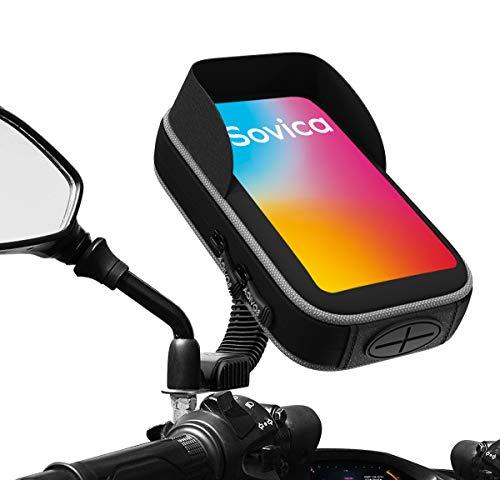 Soporte movil Moto Scooter Impermeable Funda Protectora Visera antireflejos Valida para Smartphones hasta 7' sujecion al Espejo retrovisor irrompible Soporte para movil Motocicleta