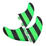 Juego de Aletas para Tablas de Surf, 3 Piezas Rayas Verdes y Negras FCS G5 Wave Fibra de Vidrio Reforzada Aletas para Tablas de Surf