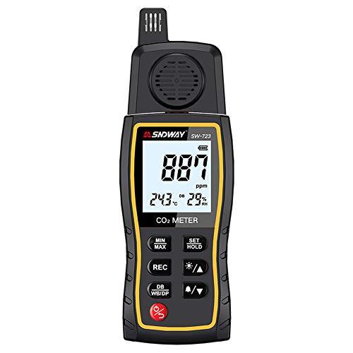 KKmoon CO2 Messgerät 0-9999ppm Kohlendioxid Detektor Handkohlendioxid-Detektor CO2-Gaskonzentrationstester Luftqualität Messgerät mit Hörbarer Alarm Datenspeicherfunktion