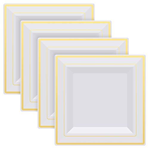 4 piezas Platos de cena 9in Platos de plástico reutilizables Platos de cena blancos Platos cuadrados para cena con borde blanco y dorado Platos de postre para comida,bodas,mesa de postres 9in