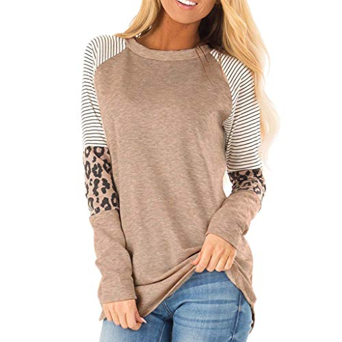 URIBAKY - Camiseta de manga larga para mujer, diseño de leopardo marrón L