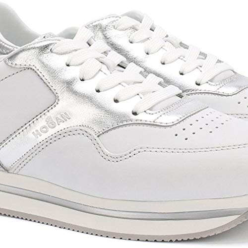 Zapatillas Deportivas de cuña para Mujer Hogan H222 en Piel Blanca y Plateada - Número de Modelo: HXW2220M469IHD0PCT - Tamaño: 39 EU