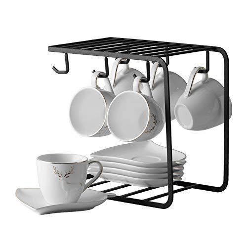 Tazas de Espresso Copas de espresso de porcelana con platillos y cucharas de 5,1 oz taza de café y platillo conjunto decoración de borde de oro y juego de té de soporte de metal negro, conjunto de 6 T