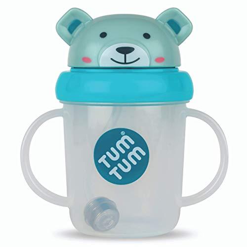 TUM TUM Trinklernbecher mit Trinkhalm - Kinder Strohalm Trinkflasche - 200ml - auslaufsicher - extra Strohhalmtechnik - Baby Trinkbecher mit Deckel - Kleinkinder ab 6 Monate - BPA frei - (Boris Bär)