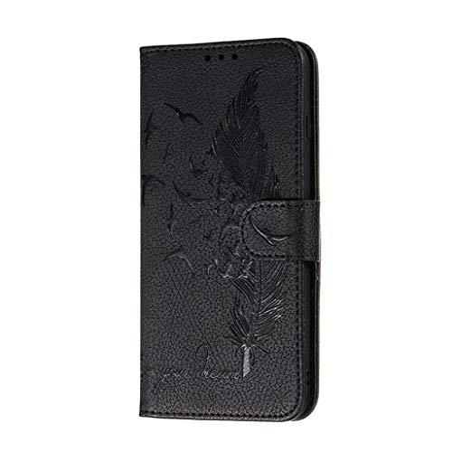 Jeelar Funda Xiaomi Redmi Note 9, Carcasa con Tarjetero y Suporte, Diseño de Patrón Pluma en Relieve Bastante Retro Funda de Cuero Premium TPU/PU Cuero Flip Folio Cover.