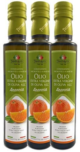Extra Natives Olivenöl mit natürlichen Orangenaroma - 3x250 ml - Italienisches Orangen Olivenöl in höchster Qualität - TrentinAceti - kaltgepresst