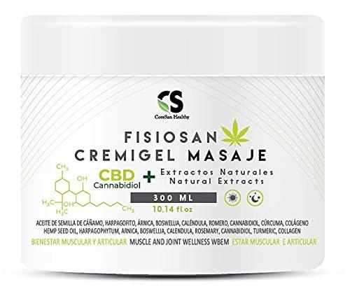 Aceite de masaje profesional crema de masajes para musculos y articulaciones calmante y relajante de semilla de cañamo gel con extractos naturales y colageno 300 ML
