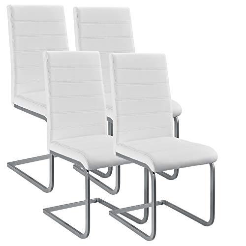 ArtLife Freischwinger Stuhl Vegas 4er Set | Kunstleder Bezug + Metall Gestell | 120 kg belastbar | weiß | Esszimmerstühle Schwingstühle