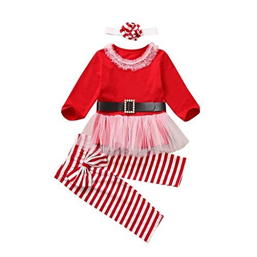 JWDYA Traje de Navidad Ropa Infantil para bebés Niña con Volantes Tul Camiseta de Navidad Pantalones de Rayas con Lazo Traje de Diadema Conjuntos de año Nuevo (Size : 18-24 Months)