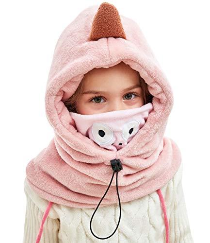 Happy Cherry Cagoule Chapeau Bonnet Cache-Nez Fille Enfant 4-12 Ans Cagoule en Polaire Cache-Oreille Cou 3D Animal Dinosaure Cagoule de Ski Sport Coupe-Vent Automne Hiver