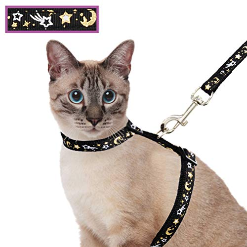 Cat Harness and Leash Set for Outdoor Walking Escape Proof Adjustable Soft Safety Strap with Golden Star and Moon Design Glow in The Dark Black
