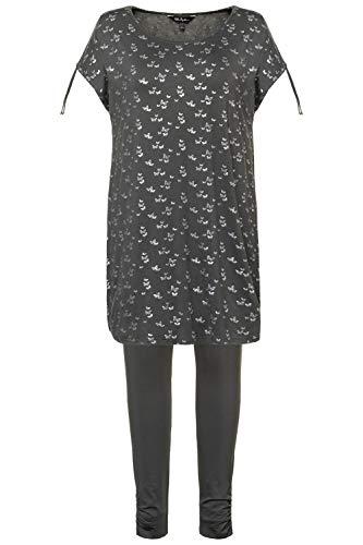 Ulla Popken Damen Pyjama, Schmetterlinge, Größen Zweiteiliger Schlafanzug, Grün (Kiwi 45), (Herstellergröße: 58+)