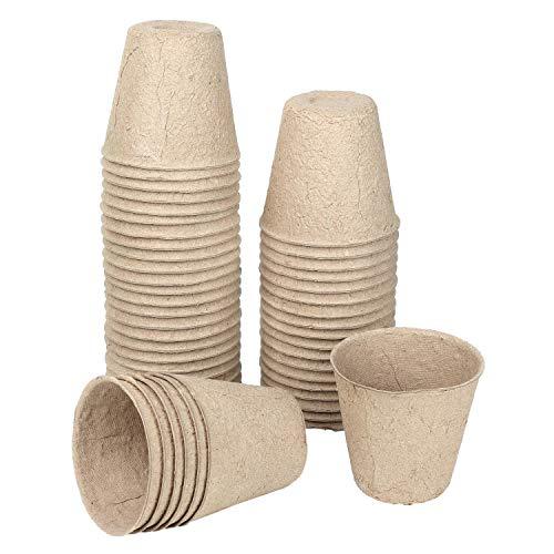 Schramm® Pflanztöpfe Anzuchttöpfe aus Zellulose 20, 50 oder 100 Stück Höhe: ca. 8 cm Anzucht Töpfe Pflanztopf Pflanztöpfe, Anzahl:50 Stück