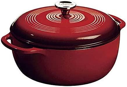 Lodge Enameled Cast Iron Dutch Oven, Island Spice Red, 6-Quart