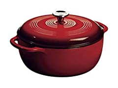 One Lodge 6 Quart Red Enameled Cast Iron Dutch Oven Features a stainless steel knob and loop handles for great control Smooth glass surface won't react to ingredients Unparalleled heat retention and even heating Use to marinate, refrigerate, cook, an...
