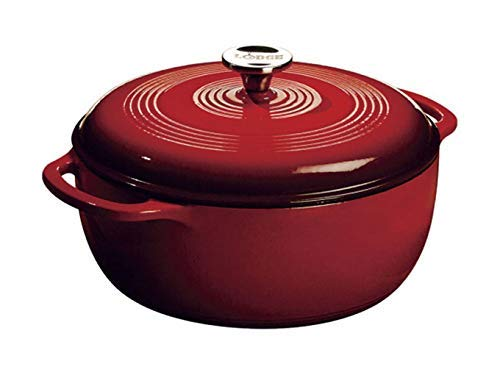 Lodge Enameled Cast Iron Dutch Oven With Stainless Steel Knob and Loop...