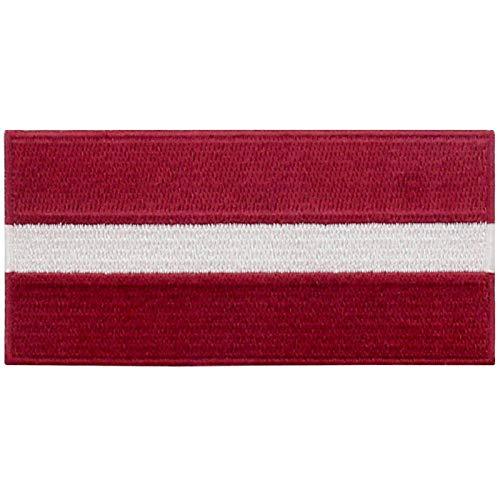 EmbTao Lettland Flagge Bestickter Aufnäher zum Aufbügeln/Annähen