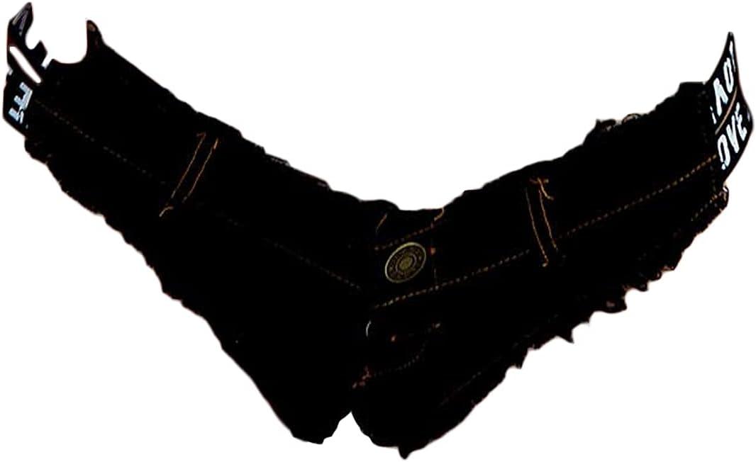 Women's Nightclub Sexy Ultra Shorts Jeans Summer Low Waist Cut Off Mini Shorts Letter Denim Thong Jean Short Hot Pants (Black,Large)