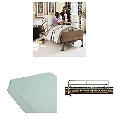 Invacare Homecare Bed Bundle | Innerspring Mattress & Full Bed Rails | Full-Electric Hospital Bed for Home Use