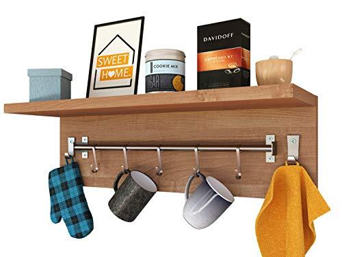 Epi-Tech Estante de pared para 5 tazas, gancho para toallas, estante colgante – aliso