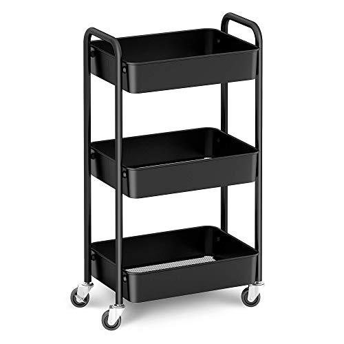 CAXXA 3-Tier Rolling Metal Storage Organizer - Mobile Utility Cart, Kitchen Cart with Caster Wheels (Black)