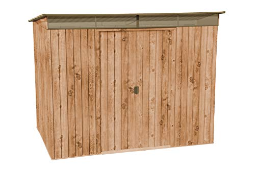 Duramax Pent Roof Skylight 8' x 6' Hot-Dipped Galvanized Metal Garden Shed - Woodgrain with Brown - 20 Years Warranty