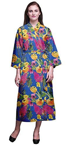 Bimba Hojas Azules de Flores & Florales Largos Impresos Kimono Robes for Women Dama de Batas de algodón Albornoces S