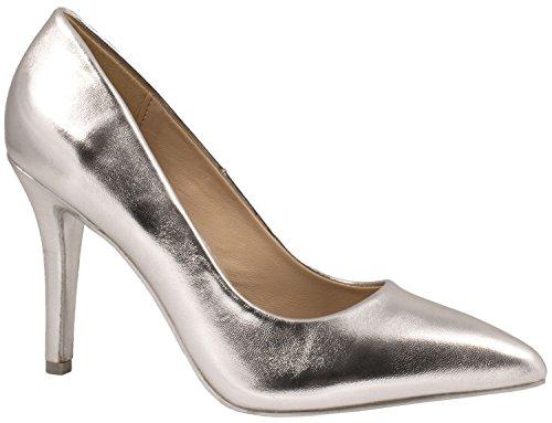 Elara Spitz Damen Pumps Stiletto High Heels chunkyrayan JA70-Silber-39