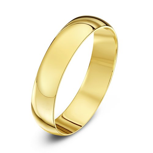 Theia Unisex Heavy Weight 4 mm D Shape 9 ct Yellow Gold Wedding Ring - M