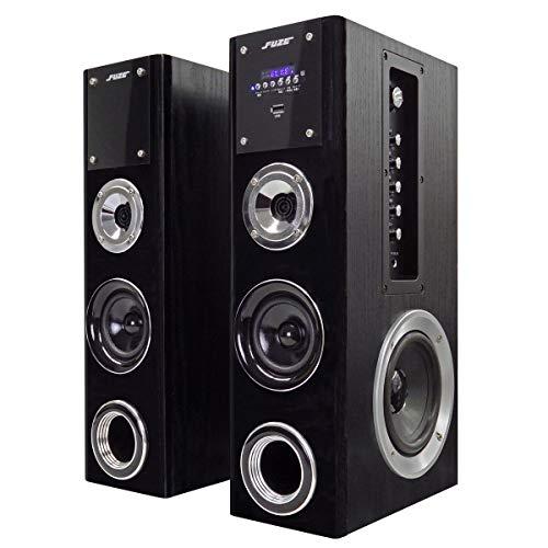 FUZE Bluetooth対応 アンプ内蔵 デュアルウーファー タワースピーカー TSX255BT ブラック コンパクトサイズ 重低音 臨場感 音声最大出力76W ブルートゥース AUX マイク端子 カラオケ
