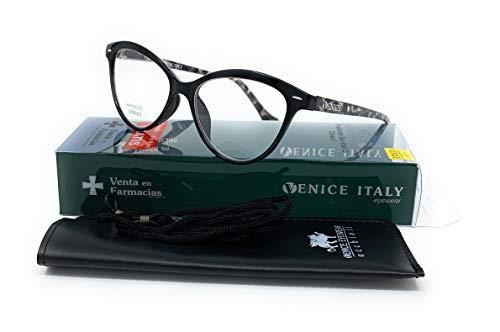 Gafas de lectura presbicia Mujer Diseño en Colores: Verde, Rojo, Rosa, Negro. VENICE Zenny - Dioptrías: 1 a 3,5 (Negro, 2,00)