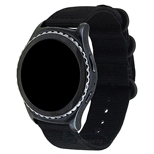 Pulseira 22mm Militar Nylon compatível com Samsung Galaxy Watch 3 45mm - Galaxy Watch 46mm - Gear S3 Frontier - Amazfit GTR 47mm - Marca LTIMPORTS (Preto)