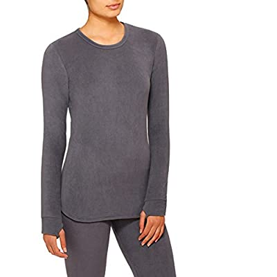 Cuddl Duds ClimateRight Womens Stretch Fleece Long Sleeve Crew Top/Shirt (M, Dark Heather Grey)
