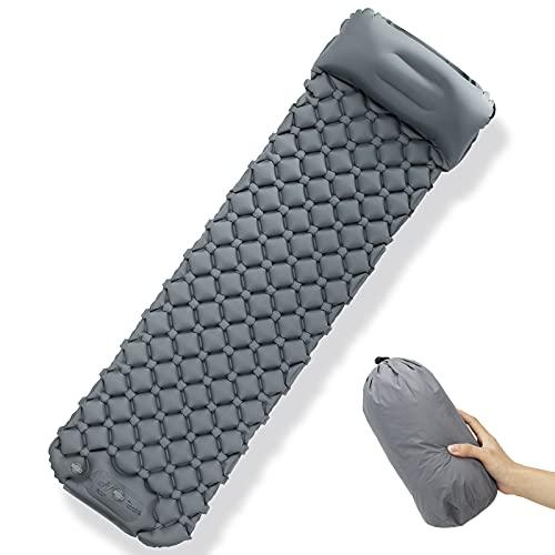 Karanice Camping Isomatte Ultraleichte Einzelne Schlafmatte mit Kopfkissen Fußpumpe Luftmatratze Tragebeutel Grau Faltbar Feuchtigkeitsbeständig für Camping, Reise, Wandern, Backpacking 195*60*5.5