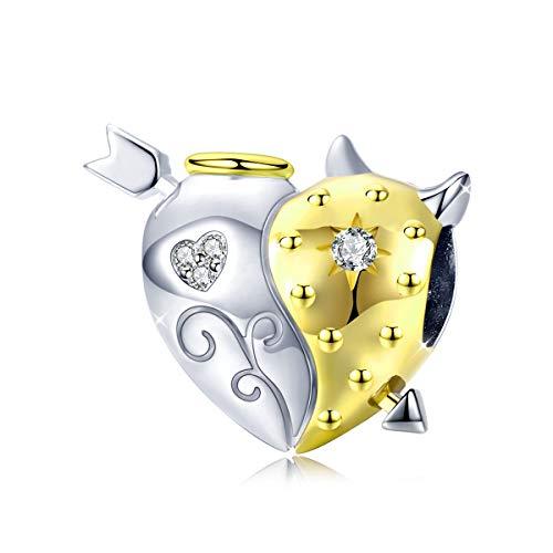 Charm-Anhänger aus 925er Sterlingsilber, Engel- und Teufel, Kristall, kompatibel mit Pandora-Armbändern und Halsketten