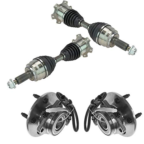 TRQ Front 4 Piece Steering Kit CV Axle Shaft Assembly & Wheel Hub Bearing Kit New for 2000-2002 Ford Expedition 4x4 / 2000-2002 Lincoln Navigator 4x4 / Four Wheel Drive Models with 14mm Studs