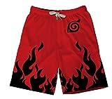 TSHIMEN Pantalones Cortos Hombre New Balance Naruto Pantalones Cortos Playa de Verano Anime japonés Transpirable Secado rápido Deportes Surf Troncos Pantalones Cortos 3D Pantalón Rojo XXXL