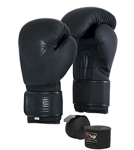 EVO Maya Hide Leather Pro GEL boxningshandskar för MMA punch bag sparring muay thai kickBoxing Fighting träningshandske med GRATIS boxning handomslag (svart diamantmatta, 12 Oz)