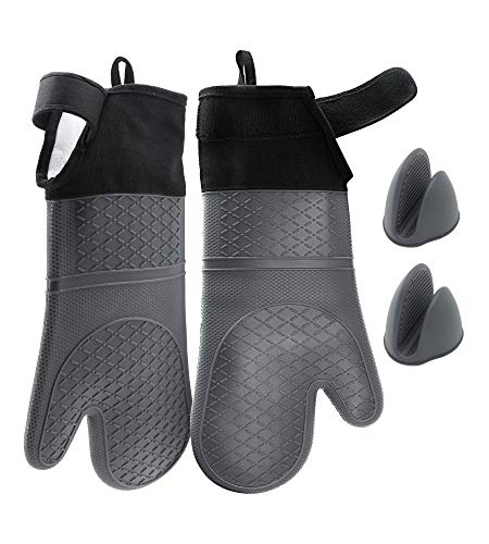 Adjustable Silicone Oven Mitts Heat Resistant for Cooking Baking|TuBellus Thick Oven Gloves Kitchen Sets with Extra Long Oven Mitt and Cute Mini Oven Mittens for Men and Women,4 Pcs,Grey