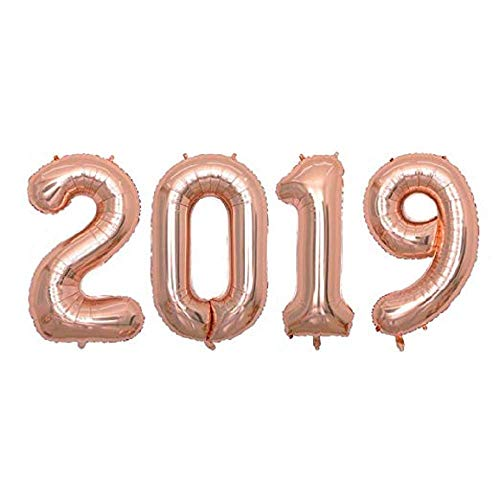 Globo de Papel de Aluminio 2019 de Color Oro Rosa, tamaño Grande, 81 cm, con Helio o Relleno de Aire, HAPPYYEAR, Inflable, con Letras 3D, Globos de película, decoración de Navidad