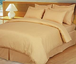 1400 Thread Count Gold Queen Striped Luxury 8-Peices Bed-in-a-Bag Set -100% Egyptian Cotton