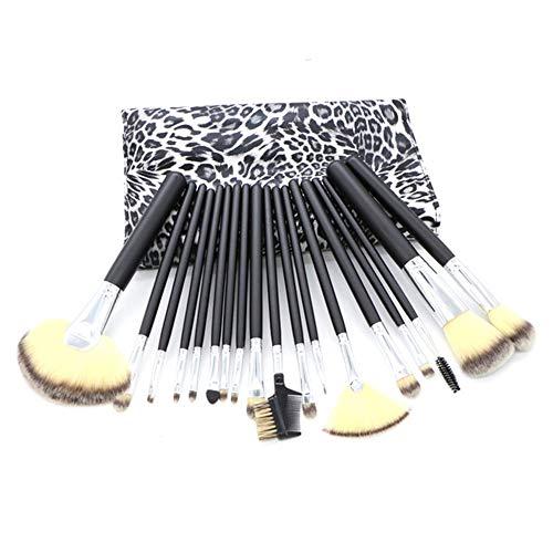18 Pcs Maquillage Pinceau Ensemble, Leopard PU Pinceau Sac Portable Noir En Bois Poignée Beauté Brosse, Convient Pour Le Maquillage Des Yeux Du Visage