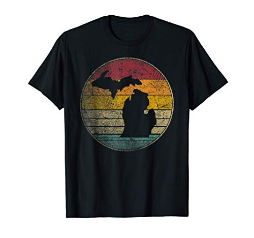 Michigan Vintage Distressed Retro Style Silhouette State T-Shirt