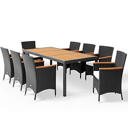 Deuba Poly Rattan Sitzgruppe 8 Stapelbare Stühle 7cm Auflagen Gartentisch 190x90 cm Akazie Holz Gartenmöbel Set Schwarz