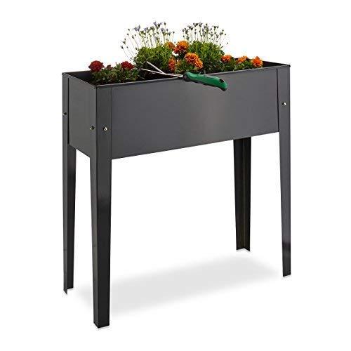 Relaxdays Hochbeet, Metall, 4 Beine, Pflanzkübel, Kräuterbeet, Balkon, Terrasse, schmal, HBT: 80,5 x 81,5 x 31 cm, grau