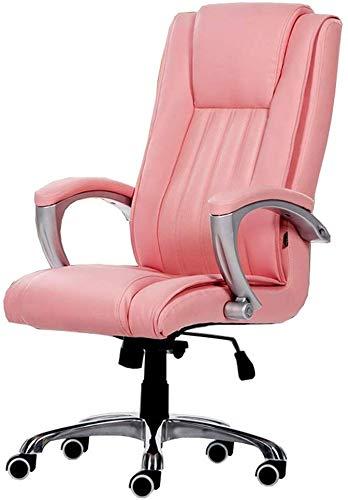 Mscxj Computer Stuhl Computer Bürostuhl Doppelständer Swivel PU-Leder-Boss Weiche Built-in Lendenkissen Premium-Materialien Freie Teile Ersatz Kunststoff (Color : Pink)